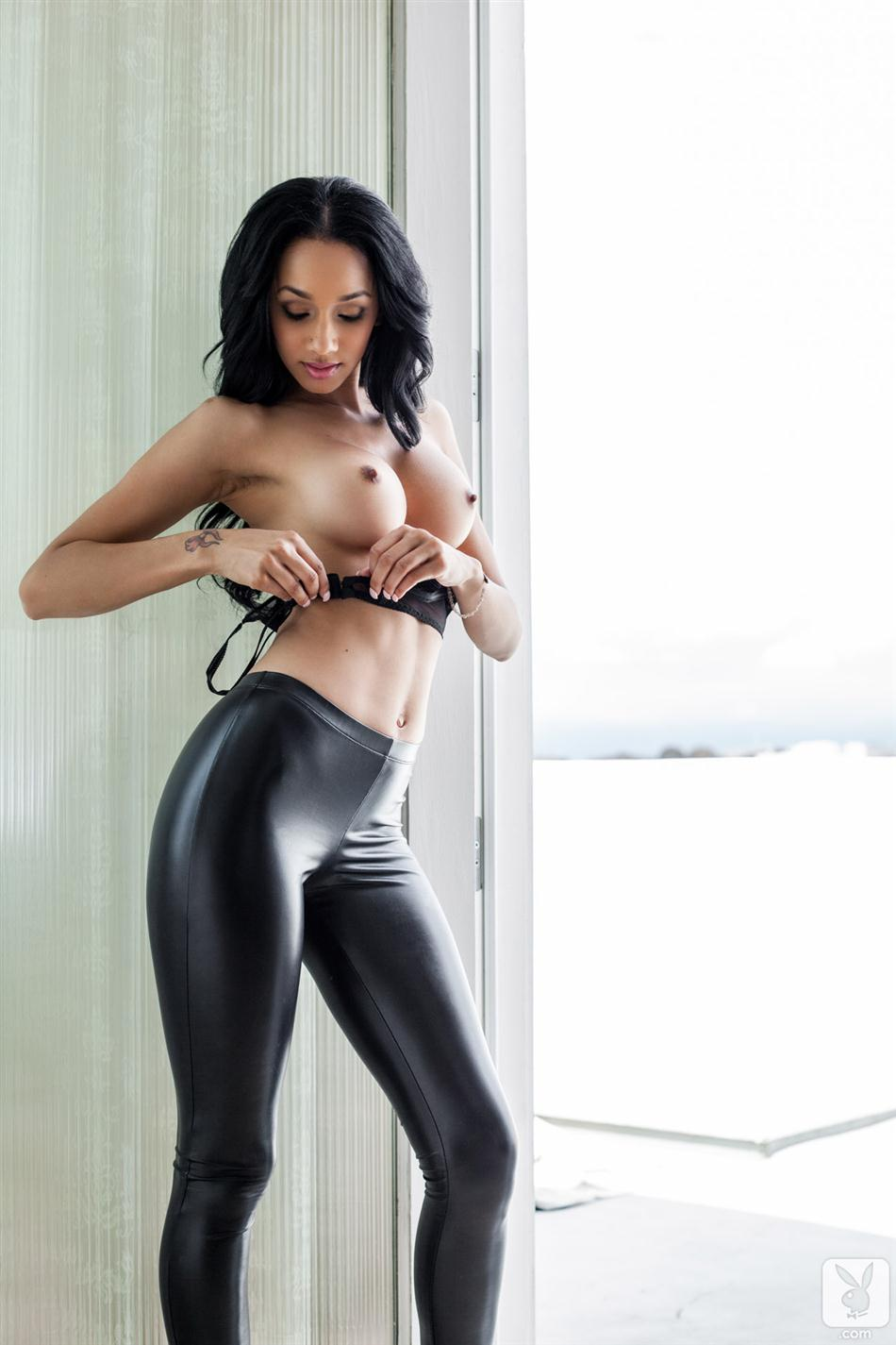 Nude women in leather pants think, that