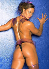 Timea Majorova shows off her hard, oiled up body